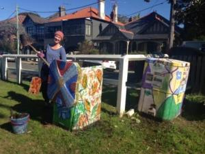 Jules tackles the compost bin - a brave women that!